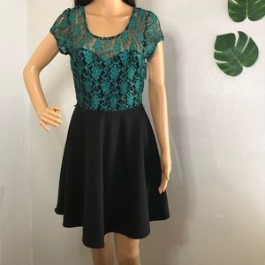 Charlotte Russe black and teal lace dress Medium